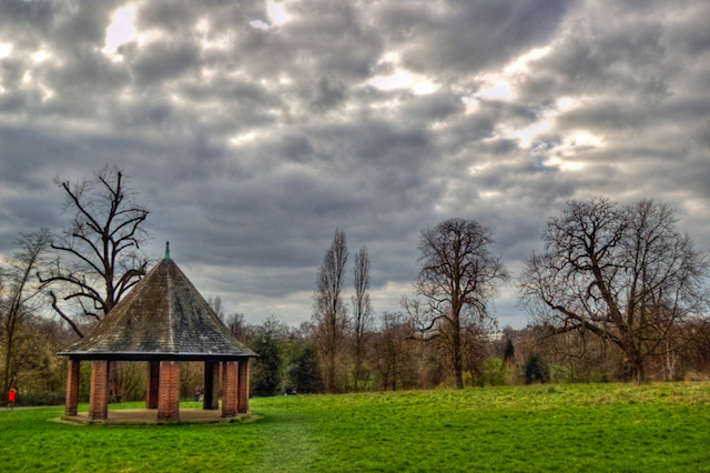 A lonely bandstand in Kensington Gardens, by yorkshire stacked.