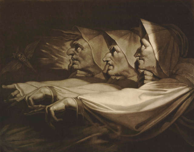 The Three Weird Sisters from Macbeth, 1785, John Raphael Smith, after Henry Fuseli, mezzotint © The Trustees of the British Museum.