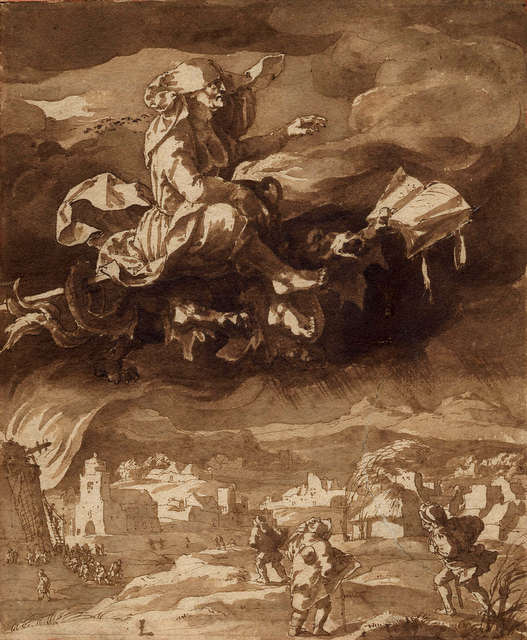 A Witch Riding through the Air on a Dragon, Jan de Bisschop (1628–1671), pen ink and brown wash, © The Trustees of the British Museum.