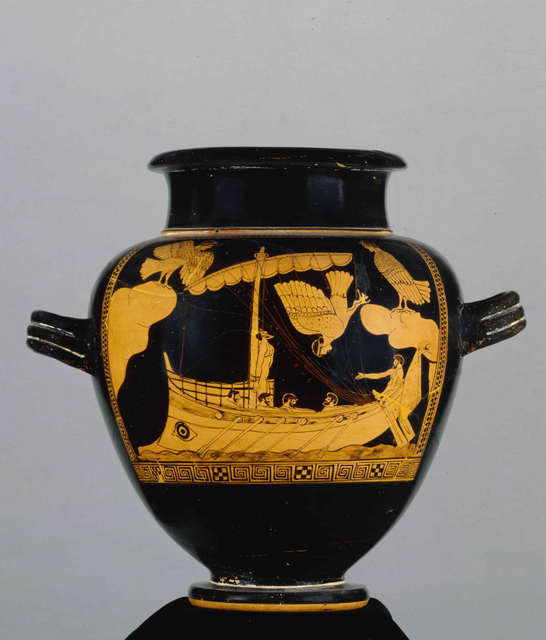 The Siren Vase, Pottery: red-figured stamnos. The ship of Odysseus passing the Sirens. C. 480BC-470BC Attributed to The Siren Painter. Greece © The Trustees of the British Museum.