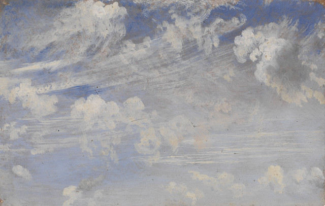784-1888  Oil painting Study of Cirrus Clouds; Oil sketch of clouds by Constable, England, 19th century. John (RA) Constable (1776-1837) Great Britain Ca. 1822 Oil on paper