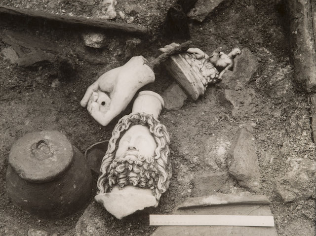 The Head of Sepharis discovered  at excavation site of the Temple of Mithras , Walbrook, London, 1954.