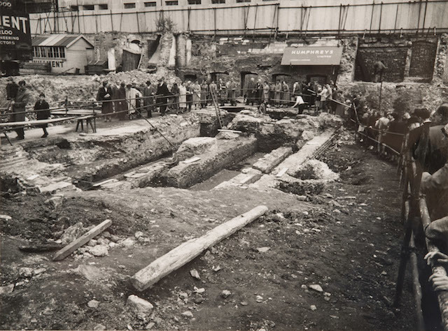 Visitors on the Temple of Mithras excavation site , Walbrook London, 1954