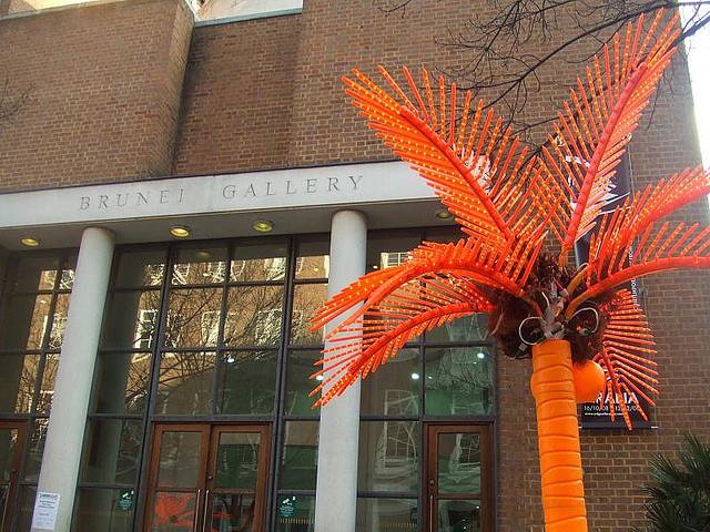Orange palm tree outside the Brunei Gallery, by Matt Brown