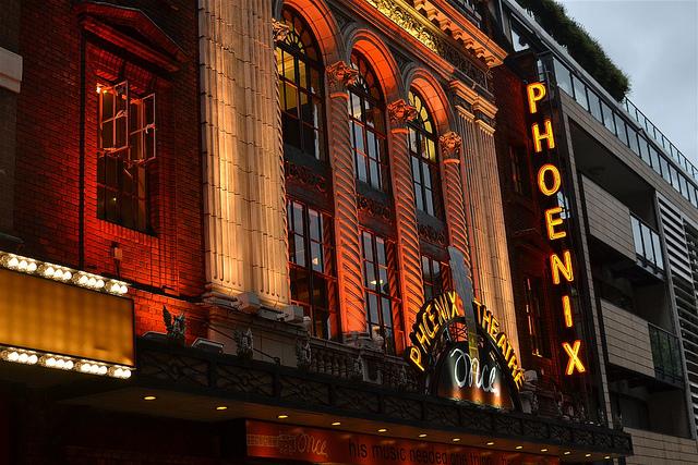 Phoenix Theatre aglow, by psyxjaw