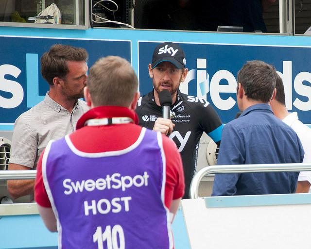 Bradley Wiggins giving an interview, photo by Andy Thornley