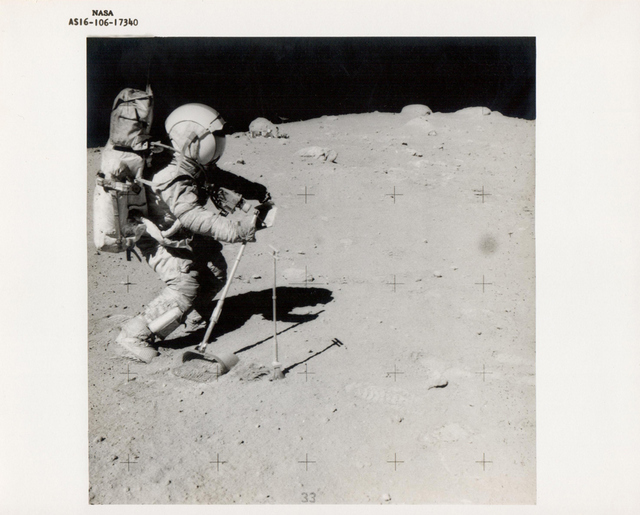 Charles Duke, John Young collect lunar samples,  Apollo 16, April 1972, NASA, BREESE LITTLE
