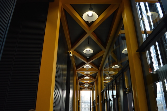 A yellow-beam theme pervades throughout the public areas.