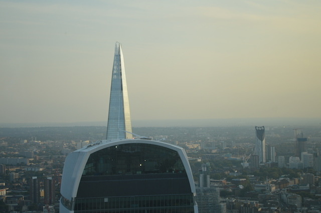 To the south, the combo of Walkie Talkie and Shard looks a little bit like the Kaiser's helmet.