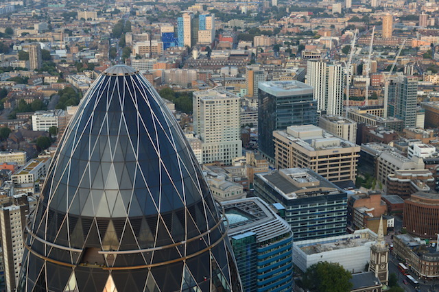 The Gherkin, looking east to Whitechapel.