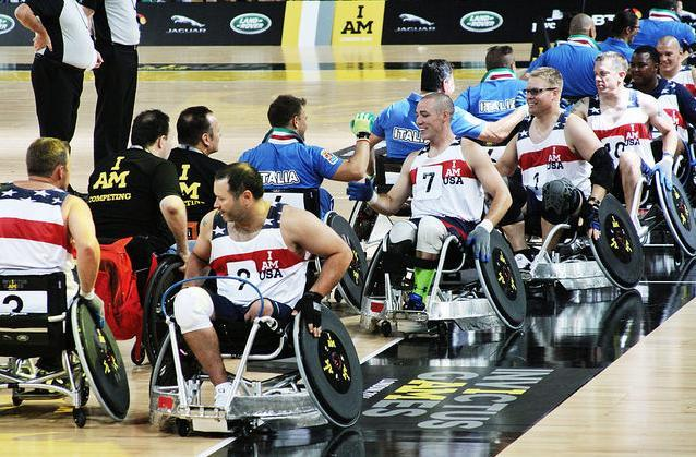 Wheelchair rugby teams lining up at Invictus Games, photo by Gary Etchell