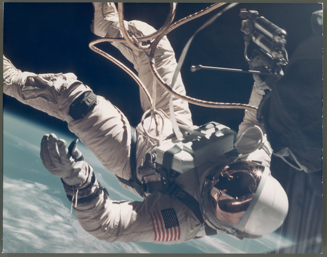James McDivitt, Ed White walking in space over New Mexico - EVA Gemini 4 June 1965. NASA, Breese Little