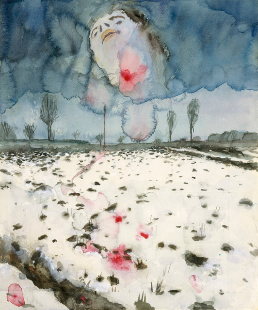 Key. 11   /  Cat.       Anselm Kiefer  Winter Landscape (Winterlandschaft), 1970  Watercolour, gouache, and graphite pencil on paper, 42.9 x 35.6 cm  Lent by the Metropolitan Museum of Art, Denise and Andrew Saul Fund, 1995 (1995.14.5)  Photo copyright 2014. Image copyright The Metropolitan Museum of Art/Art Resource/Scala, Florence / copyright Anselm Kiefer