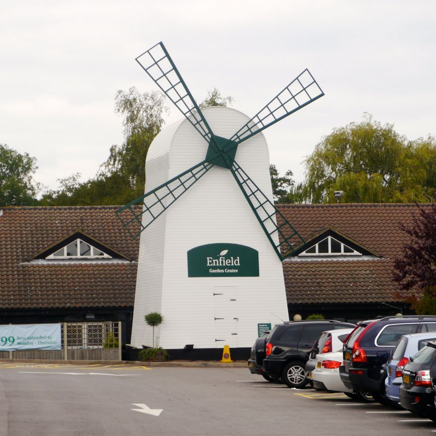 This windmill in a car park fronts an enormous garden centre