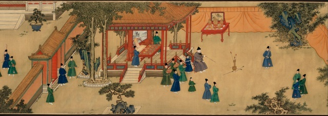 Detail from 'Amusements in the Xuande emperor's palace' showing the emperor playing an arrow-throwing game. Handscroll, ink and colours on silk. Xuande period, 1426–1435. Anonymous. The Palace Museum, Beijing. © The Palace Museum