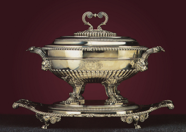 A Regency silver soup tureen and cover by William Burwash (1813)(taken from Christie's 'Magnificent Silver' auction catalogue, 10 January 1991)