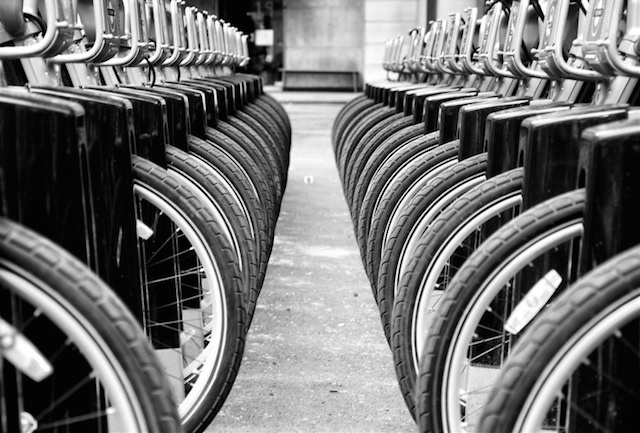 Rows of wheels. Photo by Pete Rowbottom.