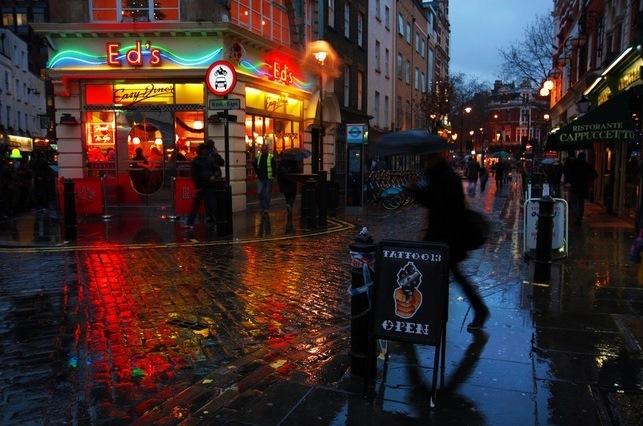 soho in the rain