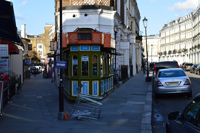 Hogarth Road in Earl's Court. We don't know if there's a specific connection to WH, but we think he'd have approved of the upside-down trolley.