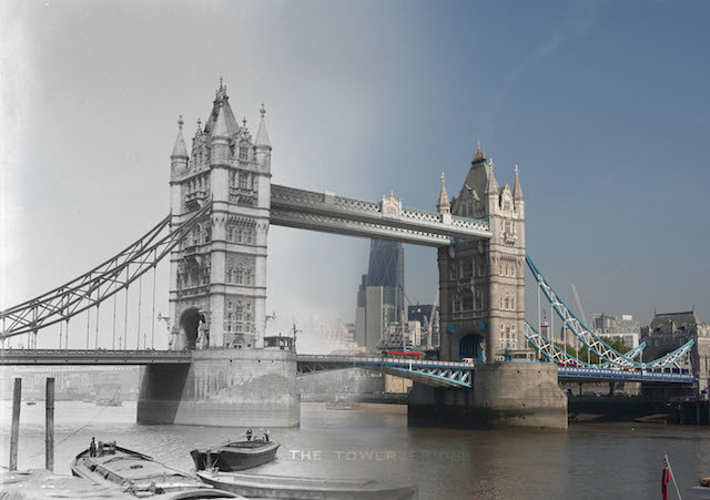 Hybrid Image: Tower Bridge, 1903-10, by Christina Broom. Today the Museum of London Docklands released 16 hybrid photographs showing 'then and now' views of London and its most iconic bridges across the ages. The 16 ghostly images, which juxtapose historic views with their present day perspective, have been created using photographs showcased in Museum of London Docklands' new art exhibition Bridge, opening on Friday 27 June.