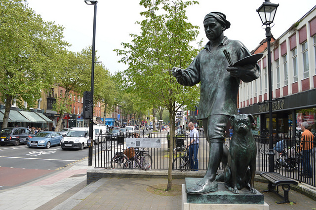 This rather nifty statue of the great man stands on Chiswick High Road. Includes a likeness of his pug dog, Trump.