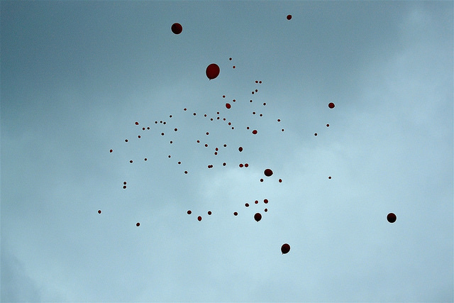 Balloons released over Hackney, by psyxjaw,