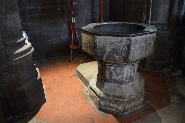 Inside St Bartholomew-the-Great church in Smithfield you'll find one of London's oldest fonts. The infant Hogarth was baptised in this very bowl back in 1697.