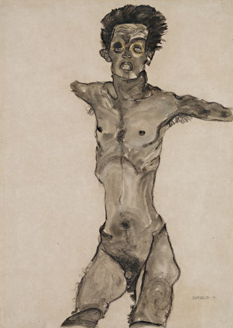 Nude Self-Portrait in Gray with Open Mouth, 1910. The Leopold Museum, Vienna