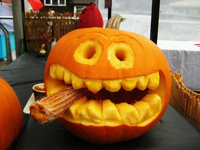 Pumpkin smoking a churro, by Simon Crubellier