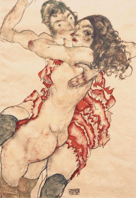 Schiele, Egon. 1890ñ1918.  ìZwei Freundinnenî, 1915.  Gouache und Aquarell ¸ber Bleistift auf Papier, 48 ◊ 32,57 cm. Inv. Nr. 1915ñ933