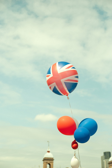 Patriotic balloons along the Southbank in 2012, by Caz Lock.