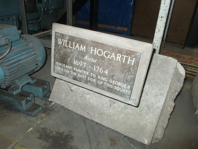 Hogarth lived, for part of his life, in Leicester Square, where a bust could be found until renovations in 2012. We recently tracked down this old memorial stone, now stored in a warehouse in west London.