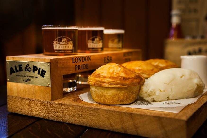 The ale and pie tasting board. Image via Fullers.
