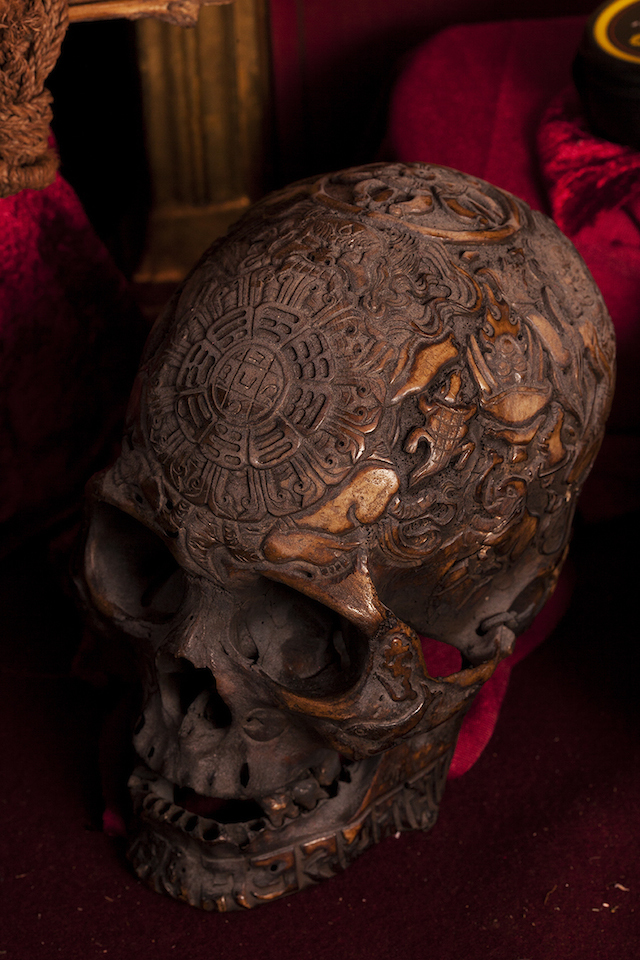 An elaborately-carved 19th century skull.