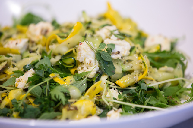 Courgette ribbons with feta