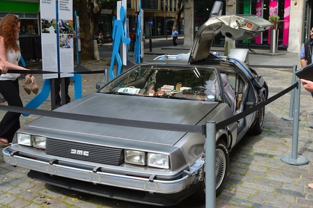 The Back to the Future Delorean made a brief appearance on London's streets in July as part of Secret Cinema's now infamous series of shows. Photo: Matt Brown