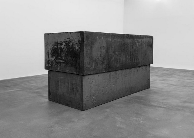The coffin shaped 'Dead load'. Courtesy Richard Serra and Gagosian.