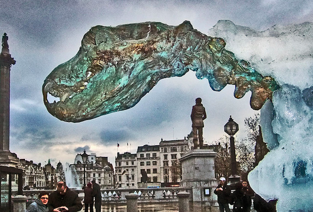 The London Ice Bear was an ice sculpture of a polar bear in Trafalgar Square in 2009 to raise awareness of global warming. More of the bronze skeleton is revealed as the ice melts. Photo: Where The Art Is