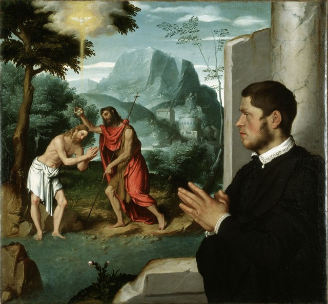 Giovanni Battista Moroni  A Gentleman in Adoration before the Baptism of Christ, c.1555-60  Oil on canvas, 112.8 x 104 cm  Gerolamo and Roberta Etro  Photo: Gerolamo and Roberta Etro