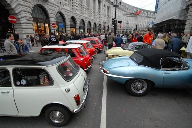 Minis and Jaguar E-types celebrate their 50th on Regent Street in November 2011. Photo: Andrew Smith