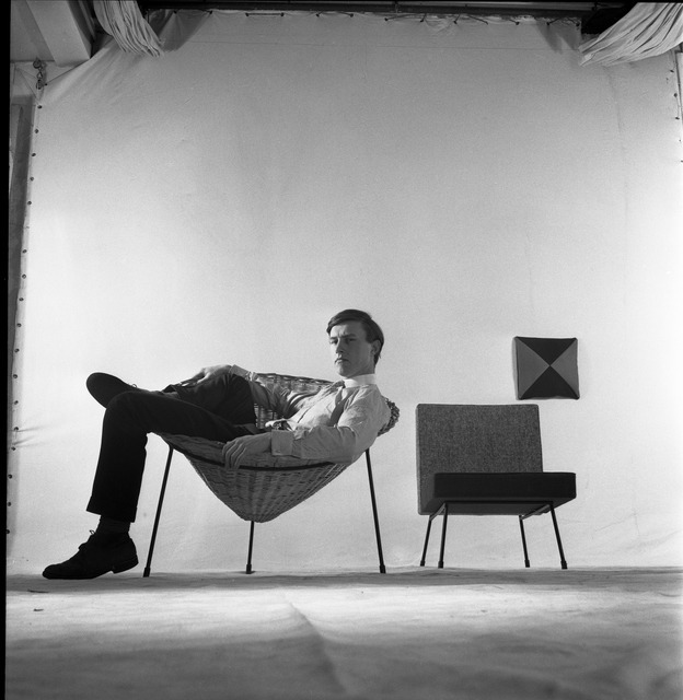 Terence Conran and His Cone Chair by Ray Williams 1950s.  Copyright: Estate of Ray Williams
