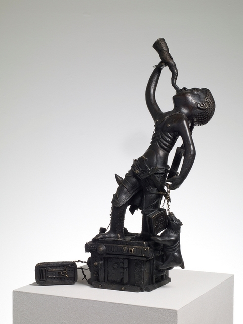 A girl in the process of undergoing gender reassignment is depicted as Peter Pan in the style of a Beninese sculpture. Image courtesy Grayson Perry and Victoria Miro