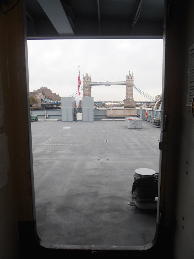 The view across the loading deck to Tower Bridge