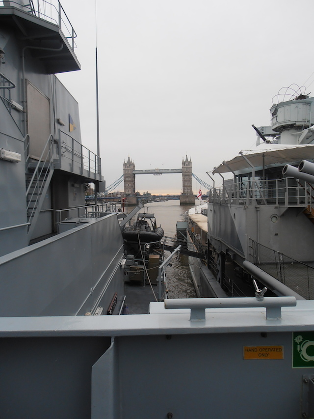 HMS Mersey is currently moored alongside HMS Belfast.