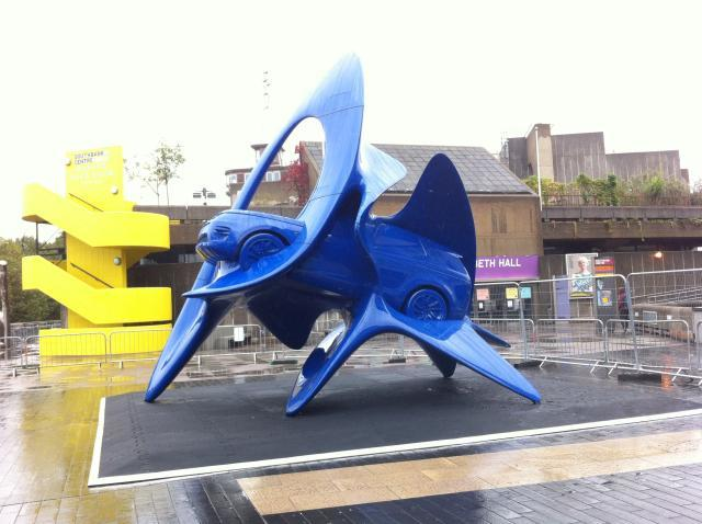 A car being eaten by a stingray? Two new sculptures were unveiled outside the Royal Festival Hall this morning. Photo by Stu Black.
