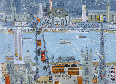 A bus-filled Southwark Bridge, by Roger Fitzgerald.