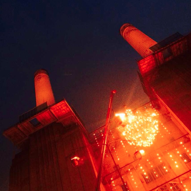 Totally Thames' Fire Garden lit up Battersea Power Station.