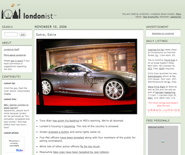 2006 carried on with a similar template to 2005, with a few cosmetic changes to the sidebars. The 'Extra Extra' article of news links is still a daily feature on the site in 2014, although we now call it London News Roundup.