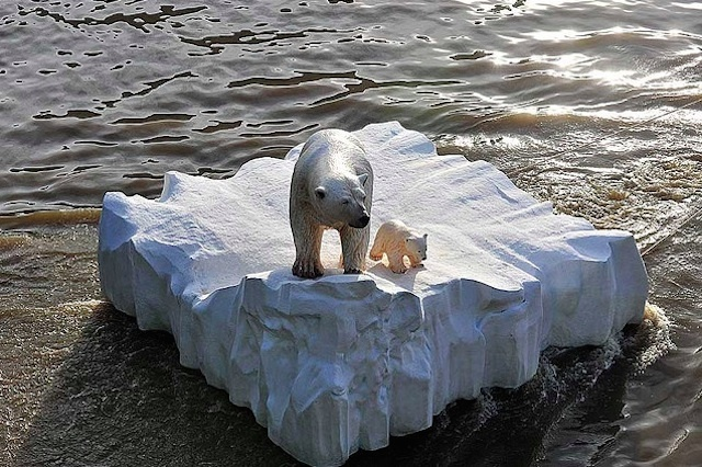 "In 2009, a model bear aboard a teeny tiny ""ice"" raft was sent down the Thames in order to raise awareness of Arctic peril.* Photo: Mike King"