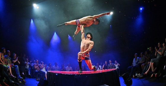 Defying gravity: The English Gents are just one of the many acts in the current run of La Defying gravity: The English Gents are just one of the many acts in the current run of La Soirée.